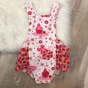 JELLY THE PUG Strawberry Tea Party Ruffle Romper